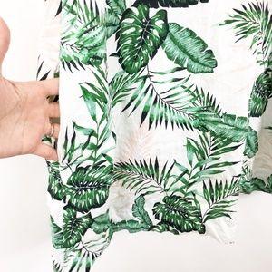 C&C California Dresses - C&C California Linen Palm Leaf Print Dress